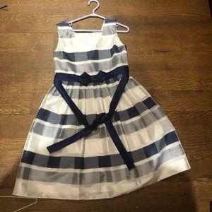 Jona Michelle sleeveless navy checkered gown